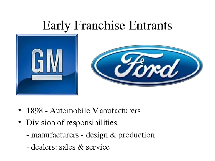 Early. Franchise. Entrants • 1898 Automobile. Manufacturers • Divisionofresponsibilities: manufacturersdesign&production dealers: sales&service