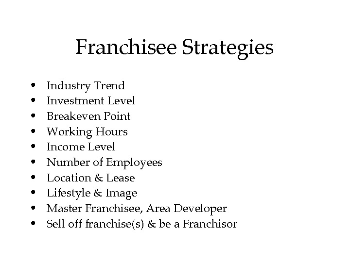 Franchisee. Strategies •  Industry. Trend •  Investment. Level •  Breakeven. Point •