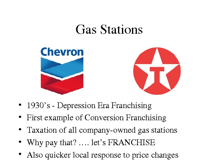 Gas. Stations • 1930's. Depression. Era. Franchising • Firstexampleof. Conversion. Franchising • Taxationofallcompanyownedgasstations • Whypaythat?
