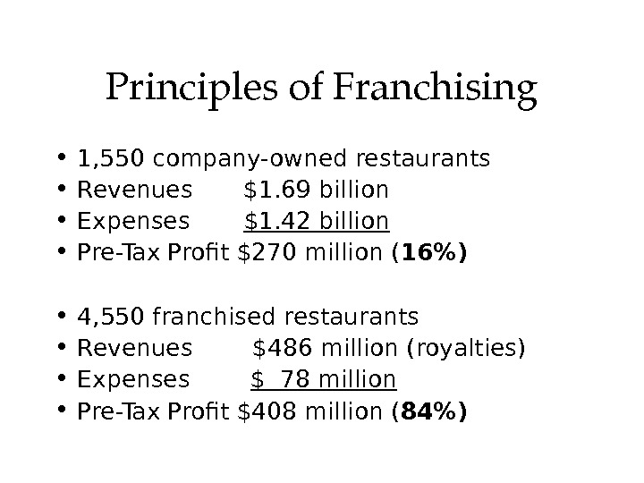 Principlesof. Franchising • 1, 550 company-owned restaurants • Revenues $1. 69 billion • Expenses