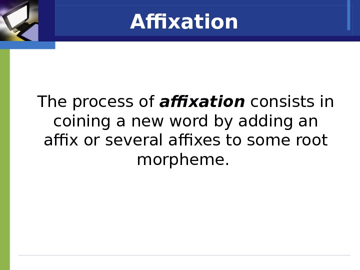 Affixation  The process of affixation  consists in coining a new word by adding an