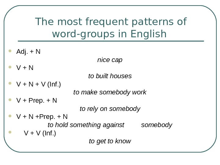 The most frequent patterns of word-groups in English  Adj. + N nice cap