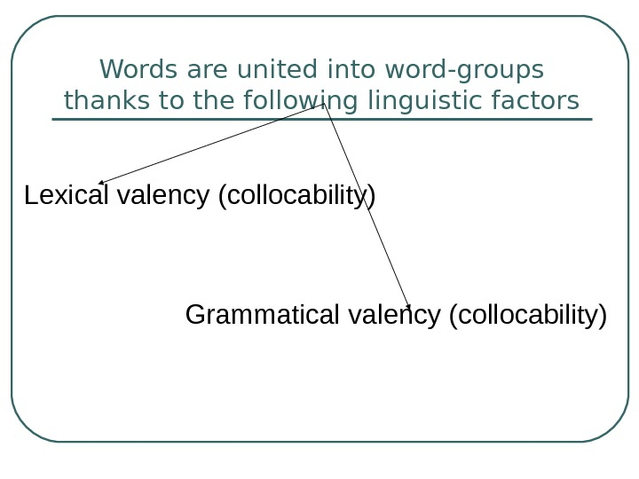 Words are united into word-groups thanks to the following linguistic factors Lexical valency (collocability)