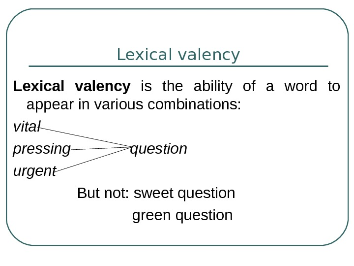 Lexical valency  is the ability of a word to appear in various combinations: