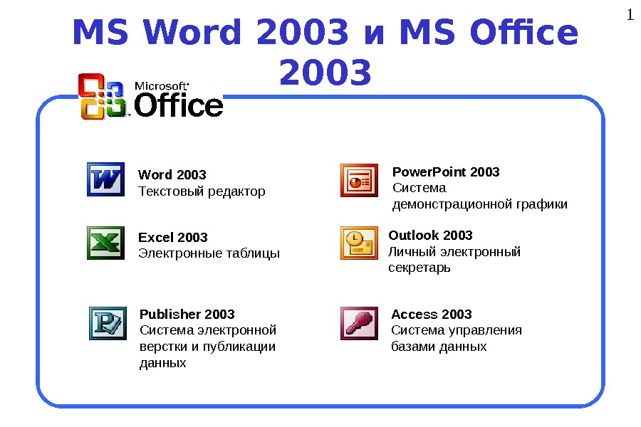 1 MS Word 2003 и MS Office 2003 Word 2003  Текстовый редактор Excel 2003 Электронные