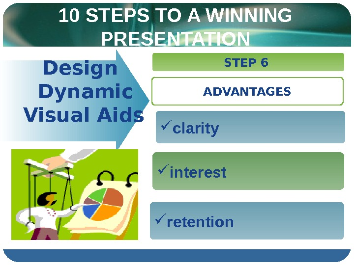 10 STEPS TO A WINNING PRESENTATION  Design  Dynamic   Visual Aids  STEP
