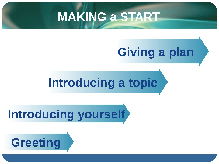 MAKING a START   Introducing a topic    Greeting    Giving