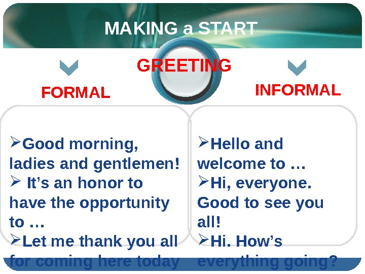 Hello and welcome to … Hi, everyone.  Good to see you all! Hi. How's