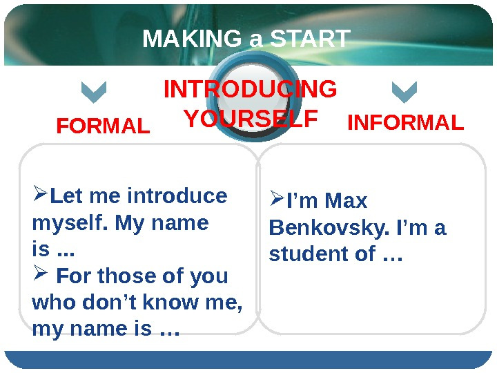 I'm Max Benkovsky. I'm a student of …  Let me introduce myself. My name