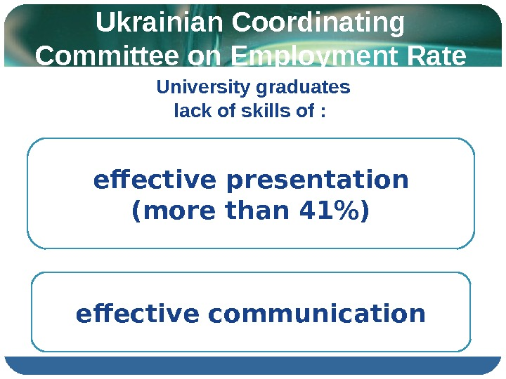 Ukrainian Coordinating Committee on Employment Rate 3 effective communication effective presentation  (more than 41) University