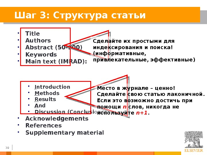 39 Шаг 3: Структура статьи Title Authors Abstract (50 -300) Keywords Main text (IMRAD) :