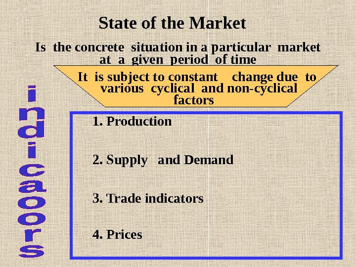 State of the Market Is the concrete situation in a particular market at a given period