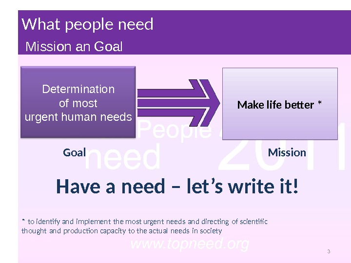 Make life better * Goal Mission. Determination of most urgent human needs 3* to identify and