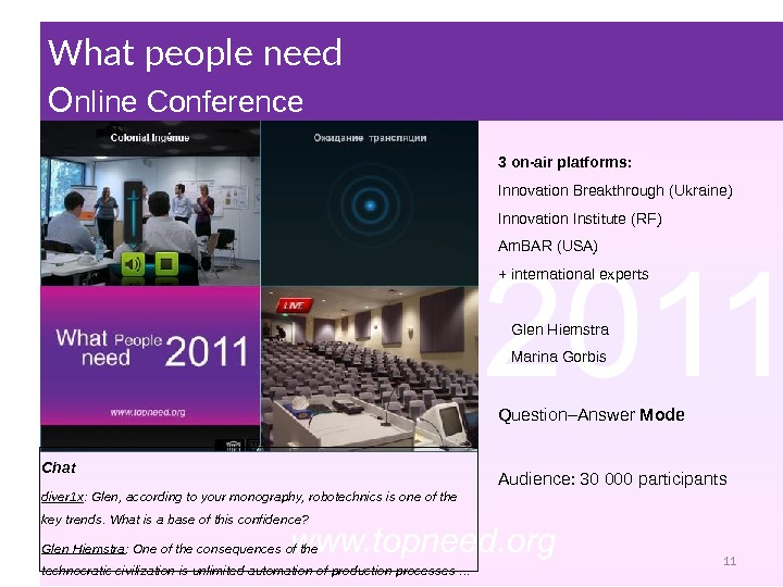 What people need Прес-конференція What people need O nline Conference Chat diver 1 x : Glen