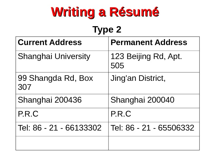 Writing a Résumé  Type 2 Current Address Permanent Address Shanghai University 123 Beijing