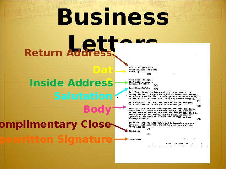 Business Letters Return Address Dat e Inside Address Salutation Body Complimentary Close Typewritten Signature