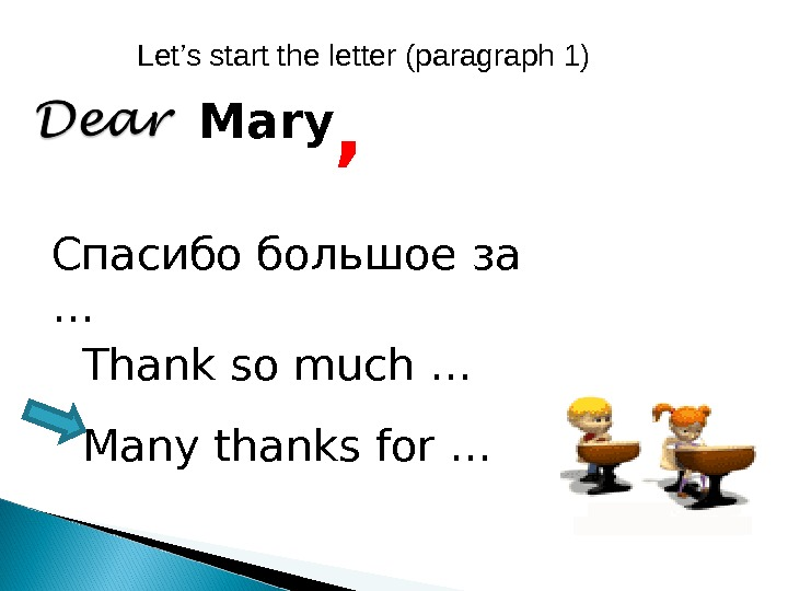 , Mary Спасибо большое за … Thank so much … Many thanks for … Let's start