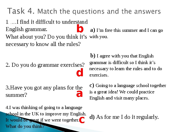 1 .  … I find it difficult to understand English grammar.  What about you?