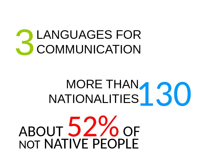 LANGUAGES FOR COMMUNICATION 3 MORE THAN NATIONALITIES 130 ABOUT 52 OF NOT NATIVE PEOPLE