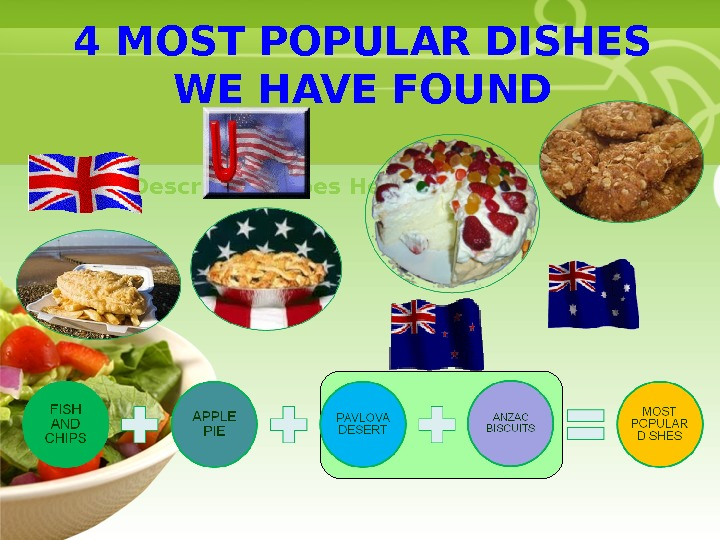 • Your Description Goes Here 4 MOST POPULAR DISHES WE HAVE FOUND