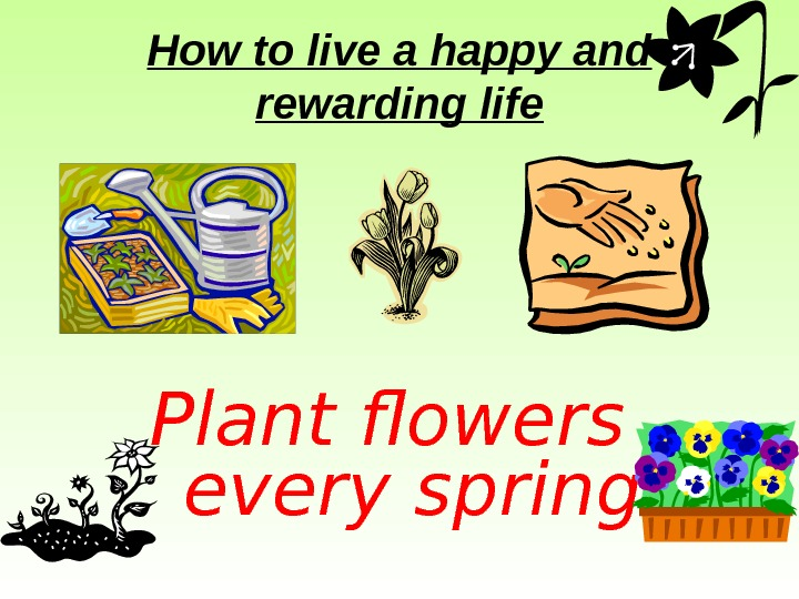 How to live a happy and rewarding life Plant flowers  every spring