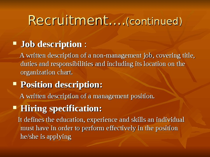 human resource mangement A human-resources department (hr department) of an organization performs human resource management, overseeing various aspects of employment, such as compliance with labour law and employment standards, administration of employee benefits, and some aspects of recruitment and dismissal.