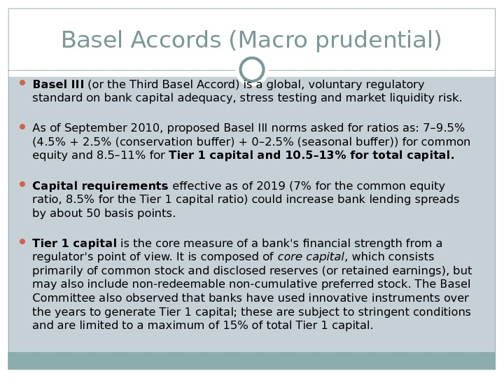 overview of basel accord Basel i, ii and iii were agreed in 1998, 2004 and 2013 respectively this page gives an overview of the basel accords and their implications for financial institutions it also covers basel certification and training options.