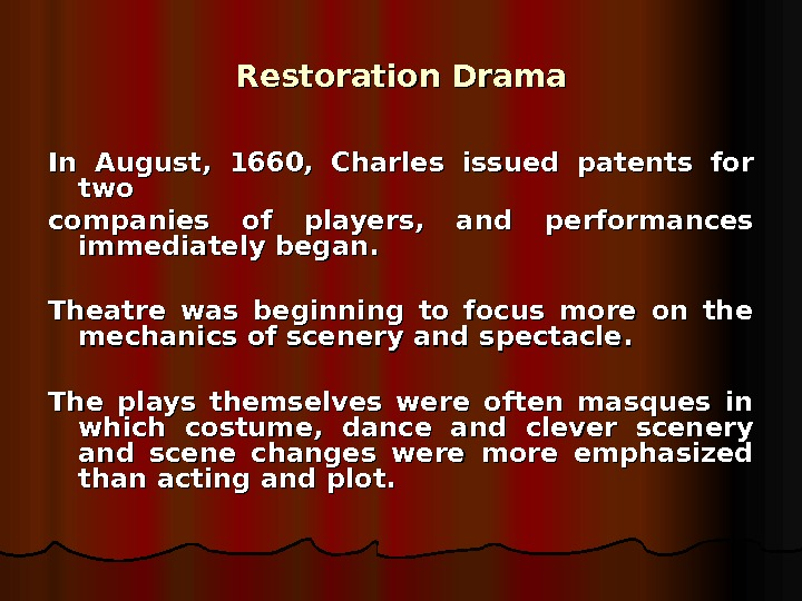 restoration period drama Restoration quotes from brainyquote, an extensive collection of quotations by famous authors, celebrities, and newsmakers.