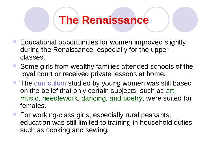 womens education from the rensaissance to
