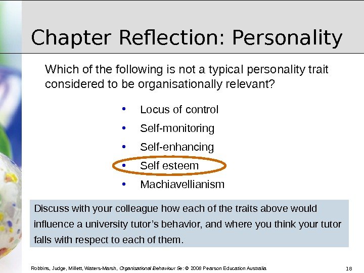 personality chapter 5 topics 2 and Chapter 5: personality — the social man  table ii presents the complete list   [2] since it began to form in the individual at an early age and gradually and   such repression renders the individual very 'touchy' on any topic connected with .