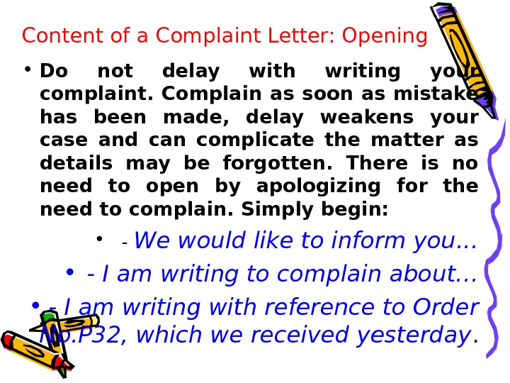writing a letter of complaint ppt1 1 writing a letter of complaint t asks ss to read sample complaint letter #1 on ppt slide and then answer 1 to whom is dr liu writing this letter.
