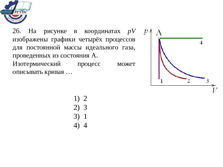 На рисунках изображены графики процессов 1-2 и 3-4