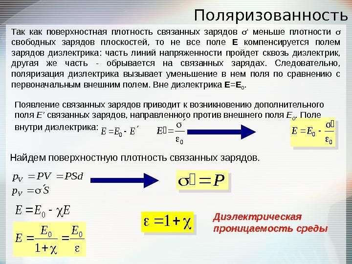 Поверхностная плотность связанных зарядов на границе 65