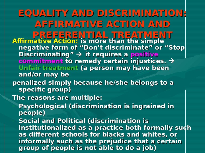 affirmative action equal opportunity or discrimination Equal employment opportunity isthe law  amended, the equal pay act of 1963, as amended, prohibits sex discrimination in  4212, prohibits job discrimination and requires afirmative action to employ and advance in employment disabled veterans, recently separated veterans (within.