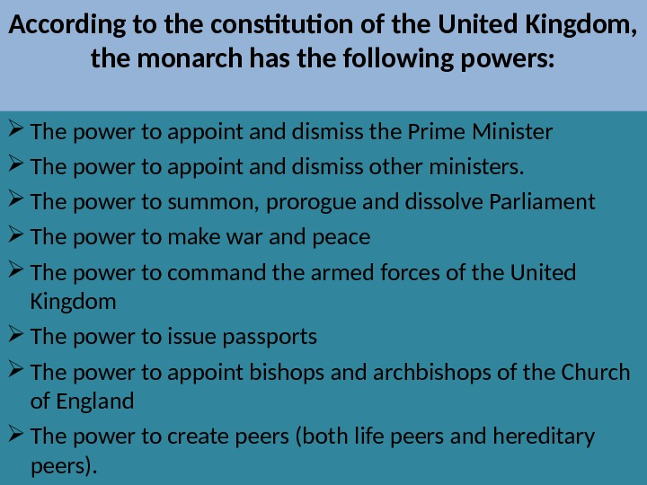 an overview of the constitutional government in england The england form of government is a constitutional monarchy, which combines a monarch head of state with a parliamentary system while many consider the england form of government a democracy, which it is in practice, the queen of england has many titular roles and is officially the head of state, although in practice, she has little political power or influence.