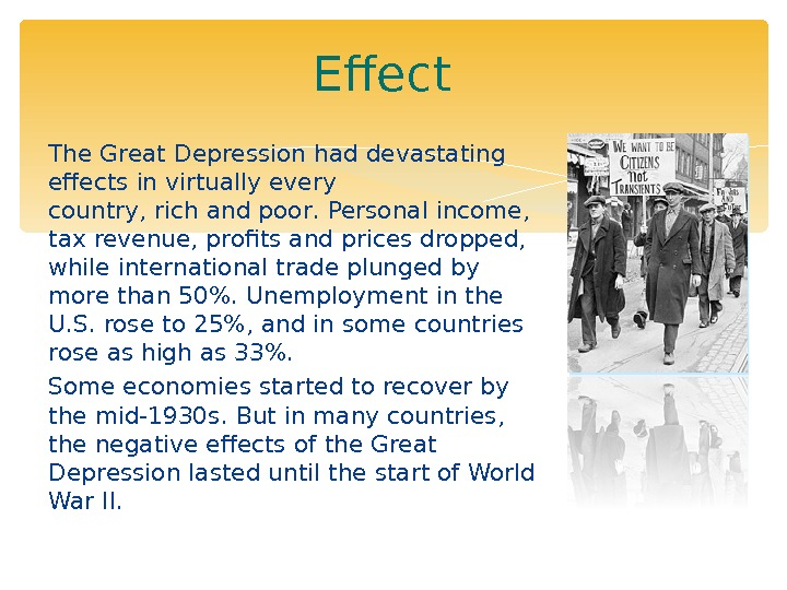 economical effects of the great depression Title length color rating : the great depression - great depression was one of the most severe economic situation the world had ever seen it all started during late 1929 and lasted till 1939.