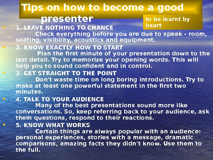 how to become a good presenter It has great tips on how to become a great presenter great presenters didn't become great by reading 100 articles and posts on becoming a good presenter.