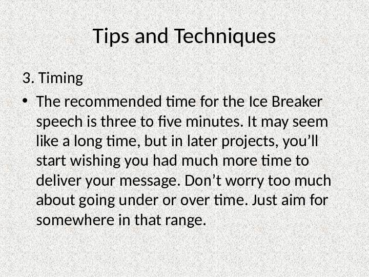 Example of an Ice Breaker Speech