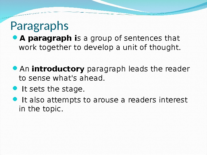 thought and paragraph