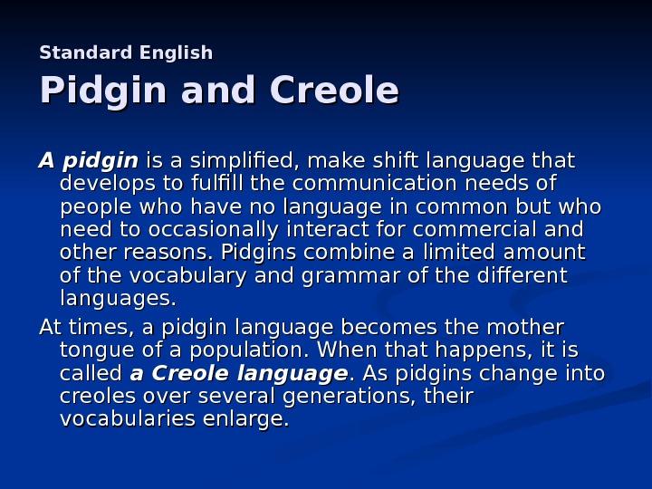 pigdin and creoles