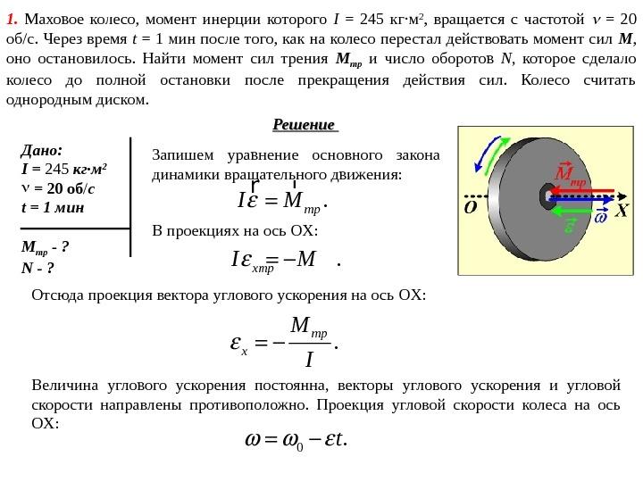 момент инерции махового колеса определение