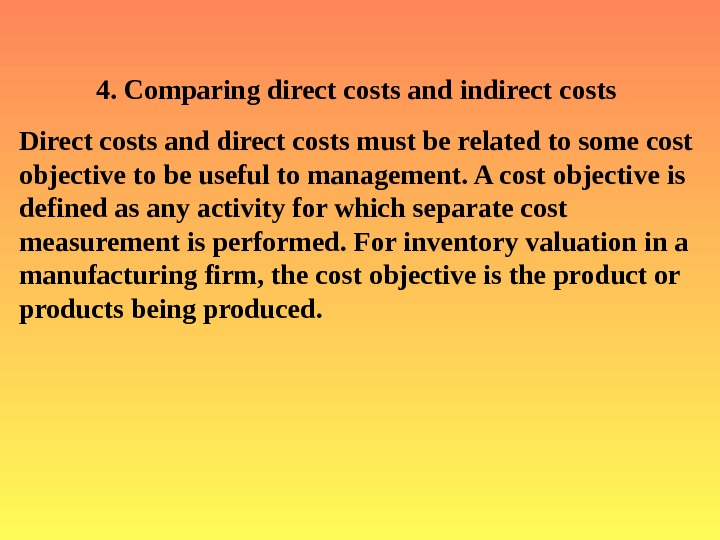 direct and indirect cost with managerial