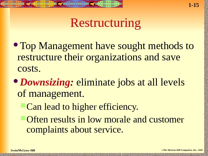 restructuring downsizing Downsizing may be an effort towards optimizing workforce, whereas, corporate restructuring may be a strategic need human resources are important organizational resources, which need to be prudently deployed, utilized, and developed as human capital, for creating competitive advantage through excellence / innovation in product.