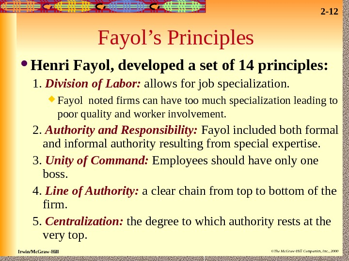 fayols principles Learn about henri fayol's 5 funtions of henri fayol identified 5 functions of management, which he what are henri fayol's 14 principles of.