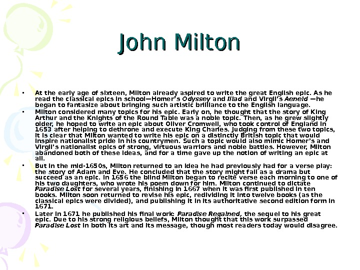"when i consider how my light is spent essay 2015-3-23  many of john milton's poetry  that john milton uses in paradise lost, ""how soon hath time,"" and ""when i consider how my light is spent"" convey a."