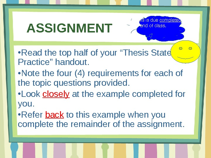 thesis statement development exercises