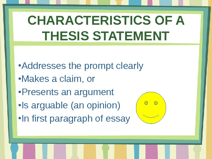 Writing thesis statements activity
