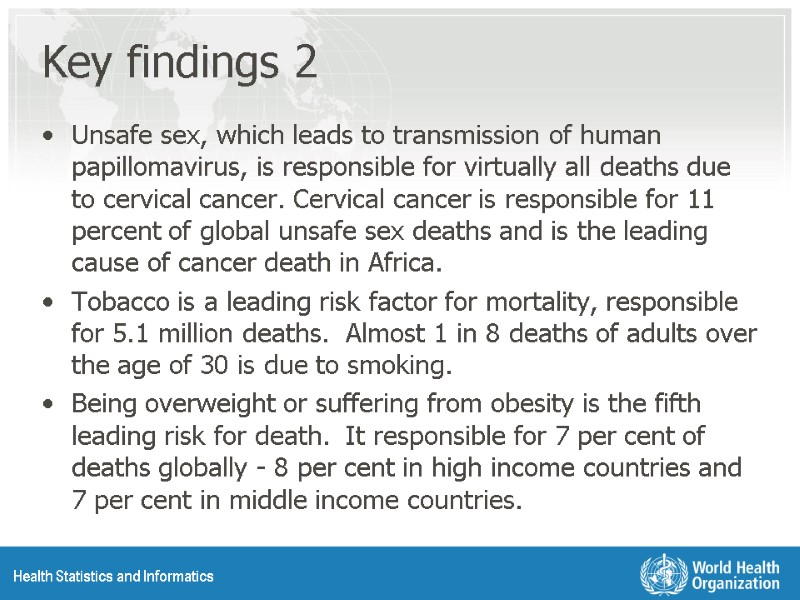 Global Health Risks: Selected figures and tables Health