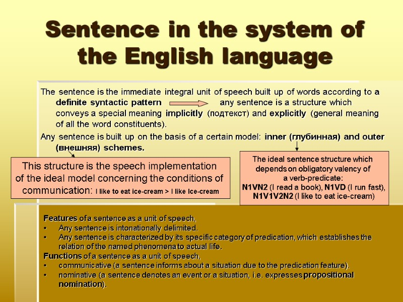Theoretical grammar of the English language The system