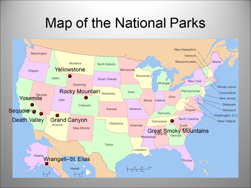 National parks in the USA Map of the